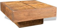 Hommoo Coffee Table Brown Square Solid Mango Wood
