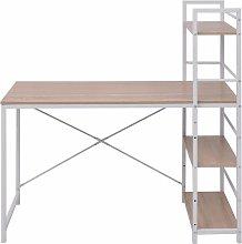 Hommoo Desk with 4-Tier Bookcase Oak QAH07441