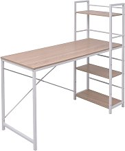 Hommoo Desk with 4-Tier Bookcase Oak VD07441