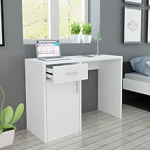 Hommoo Desk with Drawer and Cabinet White