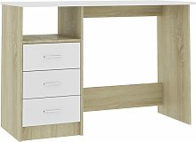 Hommoo Desk with Drawers White and Sonoma Oak