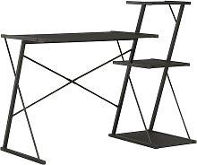 Hommoo Desk with Shelf Black 116x50x93 cm VD07579
