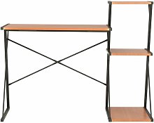 Hommoo Desk with Shelf Black and Brown 116x50x93