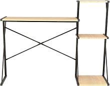 Hommoo Desk with Shelf Black and Oak 116x50x93 cm