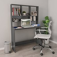 Hommoo Desk with Shelves High Gloss Grey