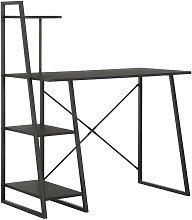 Hommoo Desk with Shelving Unit Black 102x50x117 cm