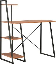 Hommoo Desk with Shelving Unit Black and Brown