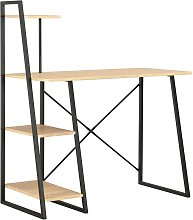 Hommoo Desk with Shelving Unit Black and Oak