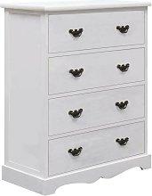 Hommoo Drawer Cabinet White 60x30x75 cm Wood