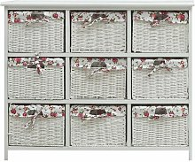 Hommoo Drawer Cabinet with Nine Baskets White Wood