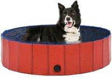 Hommoo Foldable Dog Swimming Pool Red 120x30 cm