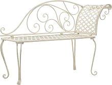 Hommoo Garden Chaise Lounge 128 cm Metal Antique