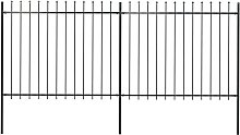 Hommoo Garden Fence with Spear Top Steel 3.4x1.5 m