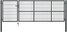 Hommoo Garden Gate with Posts Steel 350x100 cm