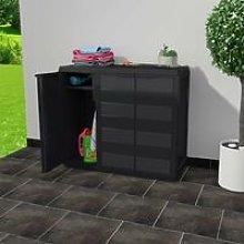 Hommoo Garden Storage Cabinet with 2 Shelves Black