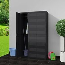 Hommoo Garden Storage Cabinet with 4 Shelves Black