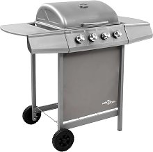 Hommoo Gas BBQ Grill with 4 Burners Silver