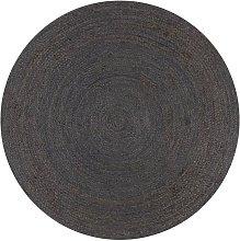 Hommoo Handmade Rug Jute Round 120 cm Dark Grey