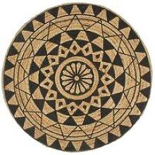 Hommoo Handmade Rug Jute with Black Print 150 cm