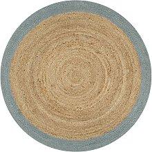 Hommoo Handmade Rug Jute with Olive Green Border