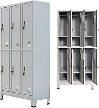 Hommoo Locker Cabinet with 6 Compartments Steel