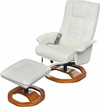 Hommoo Massage Chair with Footstool White Faux