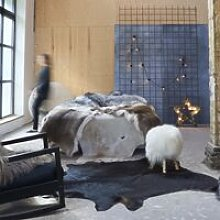 Hommoo Real Cow Hide Rug Black 150x170 cm QAH24881