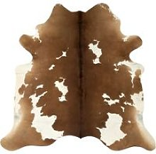 Hommoo Real Cow Hide Rug Brown and White 150x170