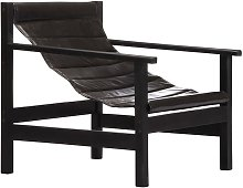 Hommoo Relaxing Armchair Black Real Leather VD13646
