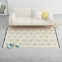 Hommoo Rug Handwoven Wool 140x200 cm White/Black