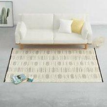 Hommoo Rug Handwoven Wool 160x230 cm White/Black