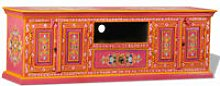 Hommoo TV Cabinet Solid Mango Wood Pink Hand