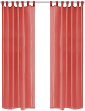 Hommoo Voile Curtains 2 pcs 140x245 cm Red VD01459