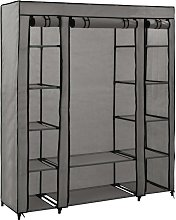 Hommoo Wardrobe with Compartments and Rods Grey