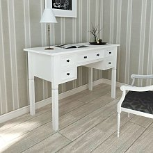Hommoo - White Writing Desk with 5 Drawers VD08783