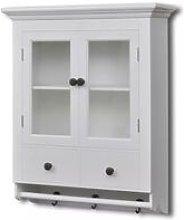 Hommoo Wooden Kitchen Wall Cabinet with Glass Door