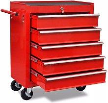 Hommoo Workshop Tool Trolley 5 Drawers Red VD04223