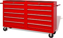 Hommoo Workshop Tool Trolley with 10 Drawers Size