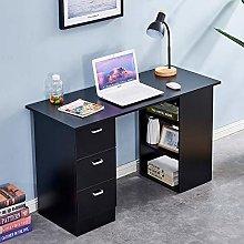 Homsailing EU Wooden Computer Desk with 3 Shelves