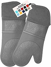 HOMWE Extra Long Professional Silicone Oven Mitt,