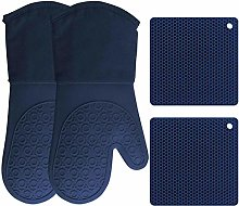 HOMWE Silicone Oven Mitts and Pot Holders, 4-Piece