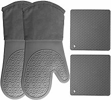 HOMWE Silicone Oven Mitts And Pot Holders (4-Piece