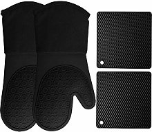 HOMWE Silicone Oven Mitts and Potholders (4-Piece