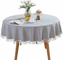 HOMYY Round Tablecloth,Cotton Linen Tassel Table