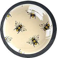 Honey Bee Engraving Print Cabinet Dresser Knobs 4
