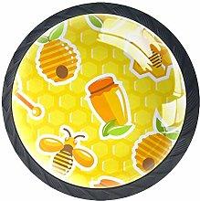 Honey Honeycomb Pattern Yellow Cabinet Door Knobs