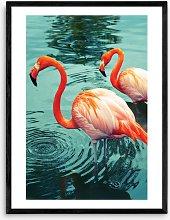 Honeymoon Hotel - Flamingoes Wood Framed Print,