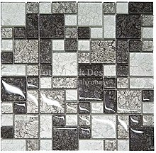 Hong Kong Black & Silver Mosaic Tiles Sheet for