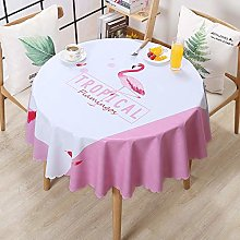 HONG PVC Tablecloth Round Table, A Flamingo Long