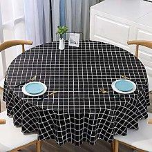 HONG PVC Tablecloth Round Table, Black Checkered